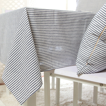 100% Cotton Zakka Style Blue Stripe Table Cloth High Quality Tablecloth Table Cover manteles para mesa Free Shipping(China)