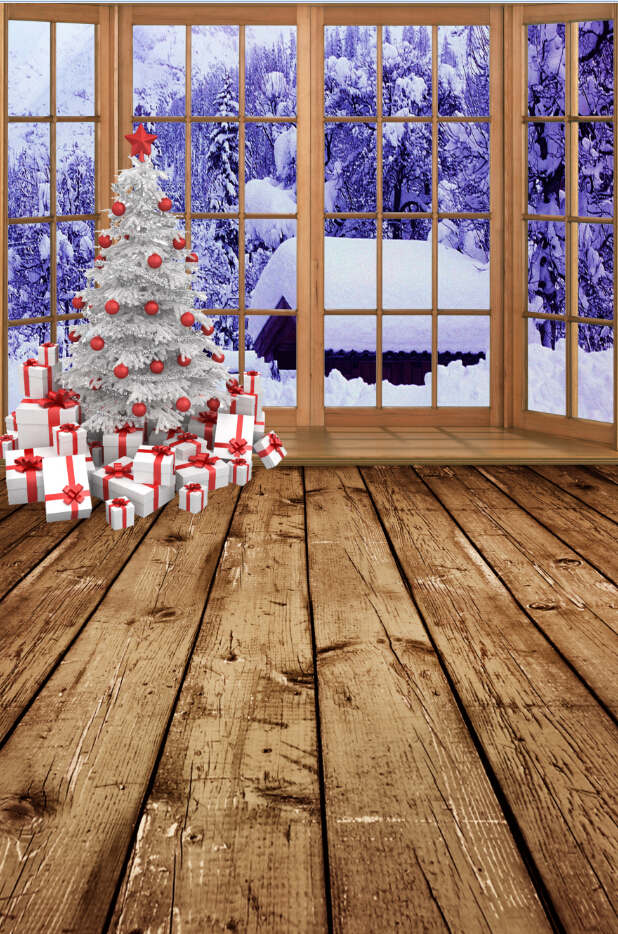 5x7ft Photography backdrops150x220cm Wooden Floor Christmas tree white snow photography back drops fabric backdrop  5731<br><br>Aliexpress