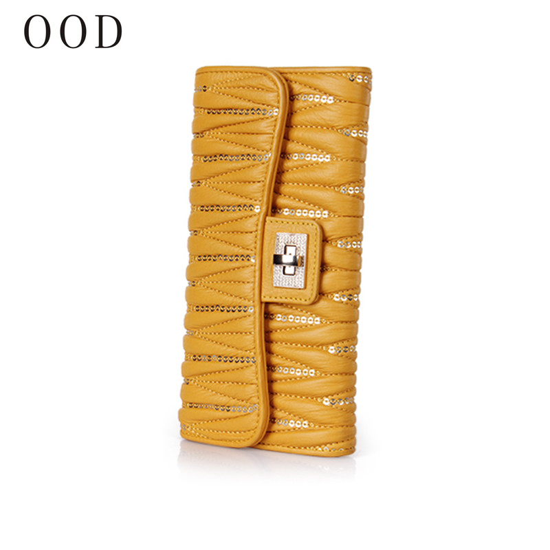 OOD High Quality Genuine Leather Long Fashion Women Wallets Designer Brand Clutch Purse Lady Party Wallet Female Card Holder<br>