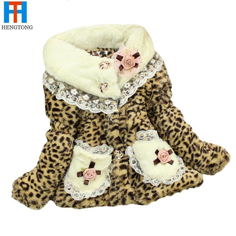 High Quality 1 pcs Girl Leopard Print Faux Fur Coat Winter Autumn Flower Baby Outerwear Clothes Girls Jacket Children CoatОдежда и ак�е��уары<br><br><br>Aliexpress