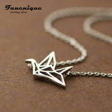 Hot Sale Cute 925 Silver Sterling Necklace Woman Jewelry Pendant Paper Crane Charm Necklace Gift Free Shipping