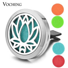 Essential Oil Car Diffuser Locket Vent Clip 316L Stainless Steel Pendant Magnetic Lotus Random Send 5pcs Oil Pads as Gift VA-304