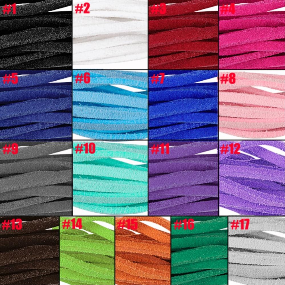 17pcs/lot 17 colors/lot Bracelet Craft Faux Suede Cord Strap Lace Leather Flat Cord DIY String Rope ES4631(China (Mainland))