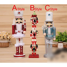 HT071 free shipping toy 38cm high quality painted wooden puppet Nutcracker soldiers birthday gift Christmas ornaments