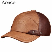 HL063 Men's  genuine leather baseball cap brand new spring real cow leather  caps hats