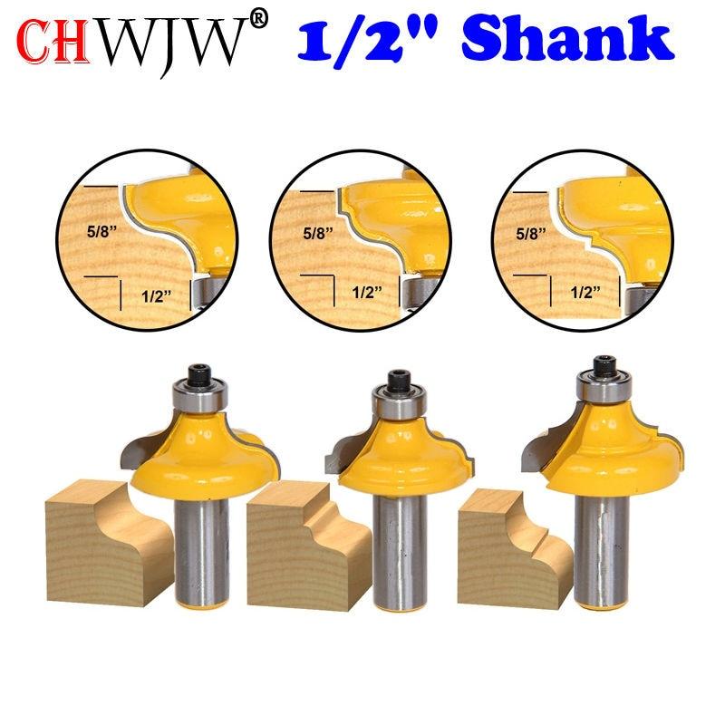 3Pc Edge Molding Router Bit Set - Ogee - 1/2 Shank Woodworking cutter<br>