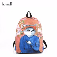 lovielf NEW Cute Van Gogh Picasso Teenager Girl world masterpiece oil painting Cartoon Cat kitty printing Schoolbags Backpack(China)