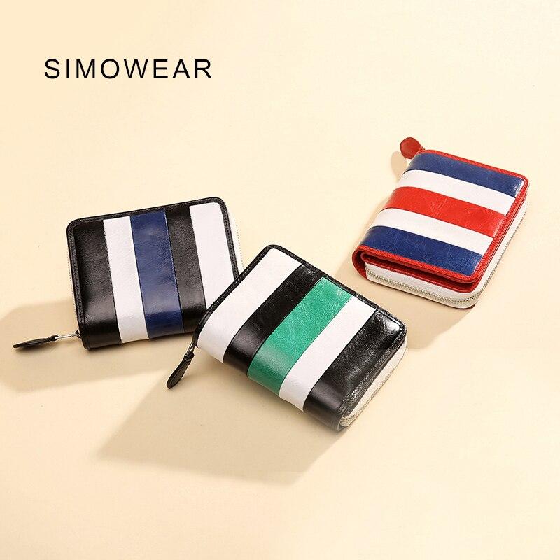 SIMOWEAR New Arrival Man Women Wallet Genuine Leather Coin Pocket Credit Card Holder Zipper Wallet Purse  <br>
