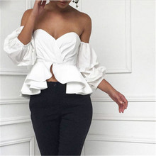 2017 Summer Women Off Shoulder Tops Blouse Shirts Strapless Backless Puff Sleeve Ruffles Peplum Sexy Women Clothes Korean Style
