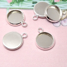 30pcs Inner 20mm/10mm/14mm/16mm/18mm/25mm Round Pendant Blank - Silver Tone Charm Setting DiY Bezel Pendant Tray Base 4 Necklace