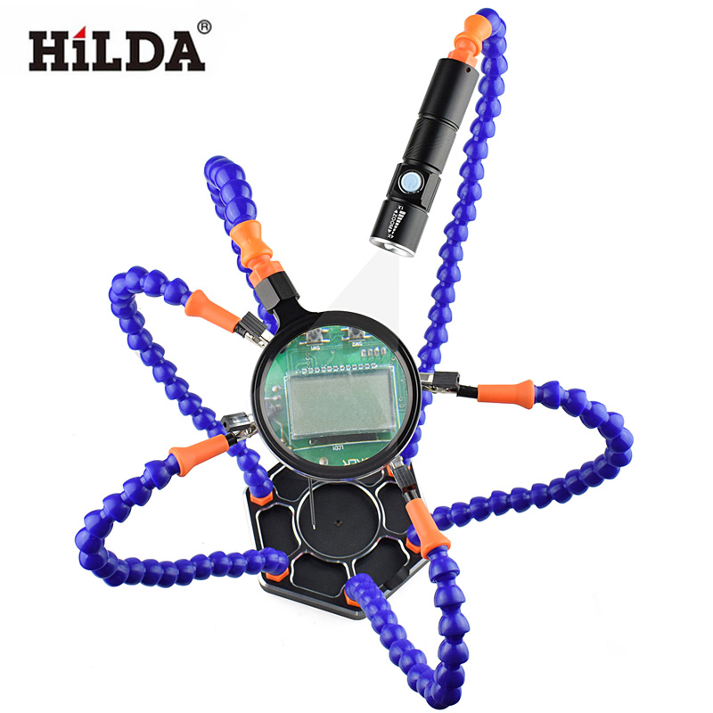HILDA Hand Pana 6pc Helping Hands Repair Welding USB Rechargeable Flashlight Magnifier Soldering Station Tool<br>
