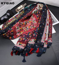KYQIAO hijab scarf 2017 mori girls autumn Japanese style fresh sweet long print scarf designer head scarf muffler foreign orders