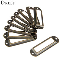 DRELD 10Pcs 70*21mm Antique Brass Vintage Metal Label Pull Frame Handle File Name Card Holder for Furniture Cabinet Drawer Box