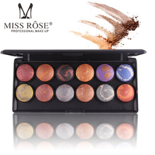 Miss Rose brand makeup metallic eyeshadow palette 12 colors 3D baked eyeshadow makeup set with mirror face bronzer kit MS012