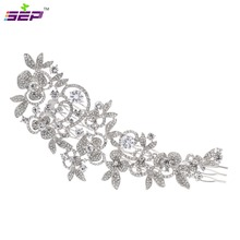Long Flower Hair Comb Wedding Hair Accessories Rhinestone Crystals Bridal Hairpin Hair Jewelry FA5027(China)