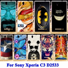 AKABEILA Soft TPU Hard PC Mobile Phone Shield Covers For Sony Xperia C3 Cases D2533 C3 Dual D2502 S55T S55U Shell Hood Skin Bag(China)