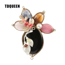TDQUEEN Brooches Enamel Pin Flower Brooch Handmade Beaded Simulated Pearl Pin Jewelry Vintage Brooch for Women(China)