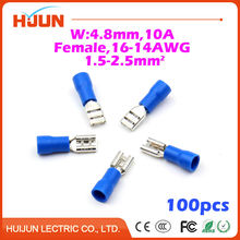 100pcs/lot 4.8 plug Blue Female Quick Disconnect Cable Wire Splice Insulation Terminal Connector 16-14AWG 1.5-2.5mm2 FDD2-187