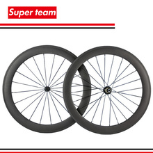 1 pair of Carbon Fiber Bicycle Wheels 700c Clincher Wheelset 60mm Matte bike rims(China)