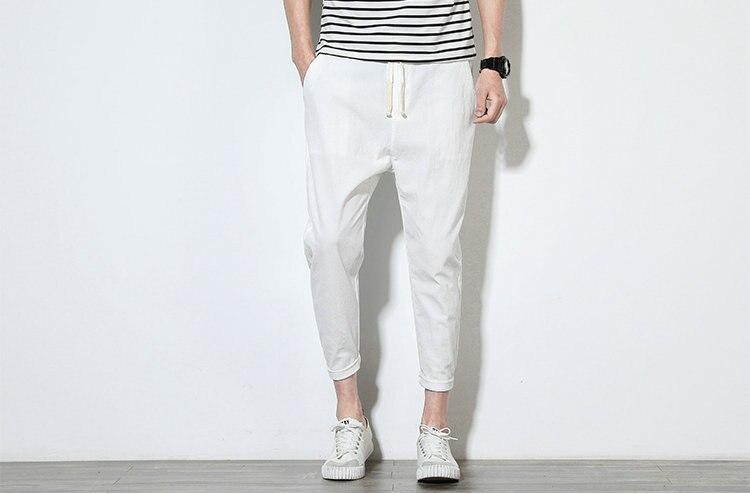 Cotton Linen Joggers White Men's Harem Pants 4