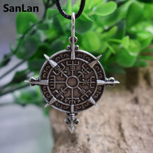 SanLan Icelandic word direction sign Runic Compass viking Vegvisir Norse protection symbol necklace packing with a small bag(China)