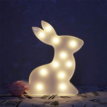 New Rabbit Style LED Night Light For Children Baby Kids Bedside Lamp White Battery Opeed Nightlight(China)