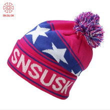 Fashion Snowboard Winter Ski Hats Warm Woolen Caps For Men Women High Quality Star Hairball Female Beanies Sports Hat