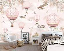 Beibehang Customize 6 photo wallpaper mural personality Pink cartoon hot air balloon children's wall decorative 3d wallpaper(China)