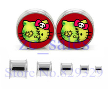 Free shipping 60pcs/lot stainless steel zombie hello kitty double flare ear plug flesh tunnel ear expander SDF044