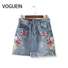 Buy VOGUE!N New Womens Ladies Sexy Floral Embroidered Irregular Denim Jeans Mini Skirt for $16.49 in AliExpress store