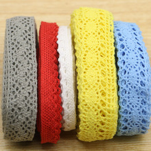 Width 10mm Beautiful 25yards  MIX color Cotton lace Net Lace Trim Garment ribbon headband wedding party decoration DIY