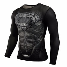 New 2016 Brand Clothing Fitness Compression Shirt Men Superman Bodybuilding Long Sleeve 3D T Shirt Crossfit Super Tops Shirts(China)