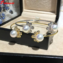 Freshwater Cultured Pearl Bracelet Natural pearl bracelet for women Adjustable open jewelry pulseiras Femme love bracelet(China)