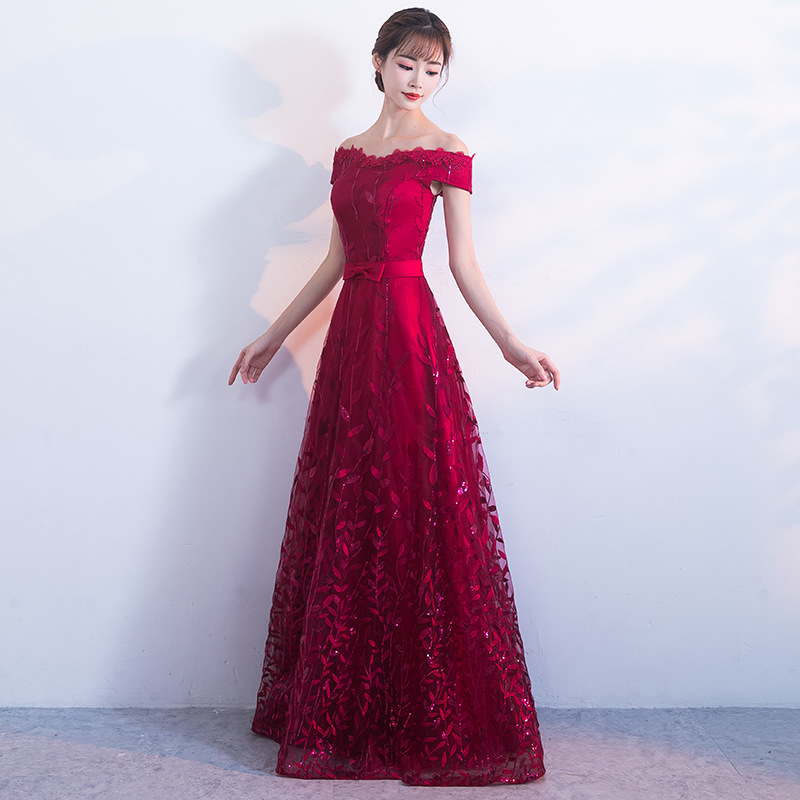 Bride Wedding Evening Dress Red Qipao Long Princess Prom Gown Sexy Cheongsam Chinese Dress 2017 Autumn Traditional Dresses