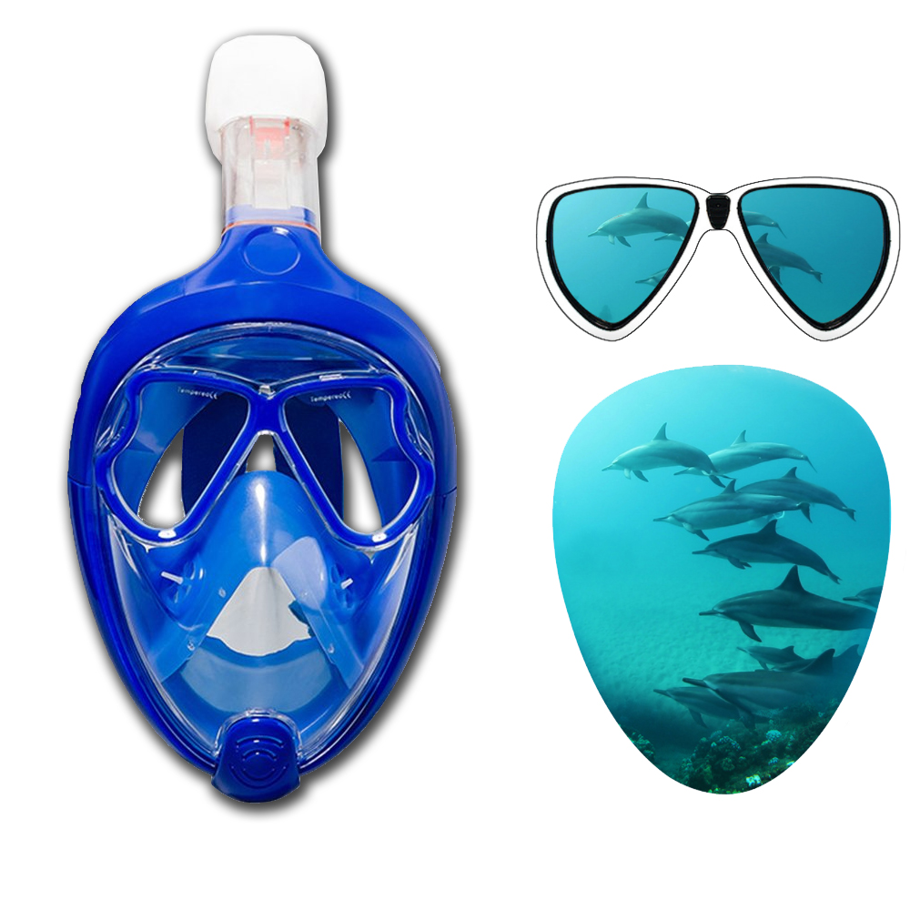Swimming Seal Dry Snorkel Mask Changeable Myopia Glasses Full Face Design Underwater Anti Fog Snorkeling Diving Mask Dive<br>