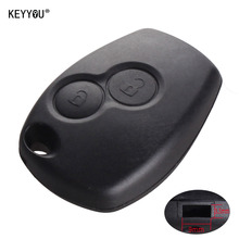 KEYYOU Without Blade 2 Buttons Car Key Shell Remote Fob Cover Case For Renault Dacia Modus Clio 3 Twingo Kangoo 2 WITH LOGO