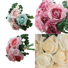 Hot Selling!Rose Fake Silk Flower Leaf Artificial Home Wedding Decor Bridal Bouquet Wholesale Price Drop Shipping May24