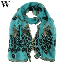 Amazing Fashion Women's handmade lace peacock scarves Chiffon Scarf Long Soft Wrap Shawl Gift(China)