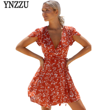 Buy New Summer Dress 2017 Women Sexy Deep V Neck Red Floral Print Waist Tie Summer Beach Dresses Boho Sundress Club Party Vestidos for $16.53 in AliExpress store