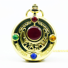 Fashion Golden Sailor Moon Theme Necklace Pendant Quartz Pocket Watch With Chain Girl's Gift(China)