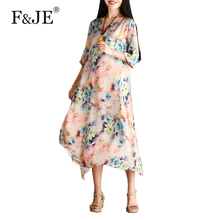 F&JE 2017 Summer New Arts Style Women Loose Casual Silk Chiffon Long Dress Top Quality Vintage Print Dresses Plus Size J935