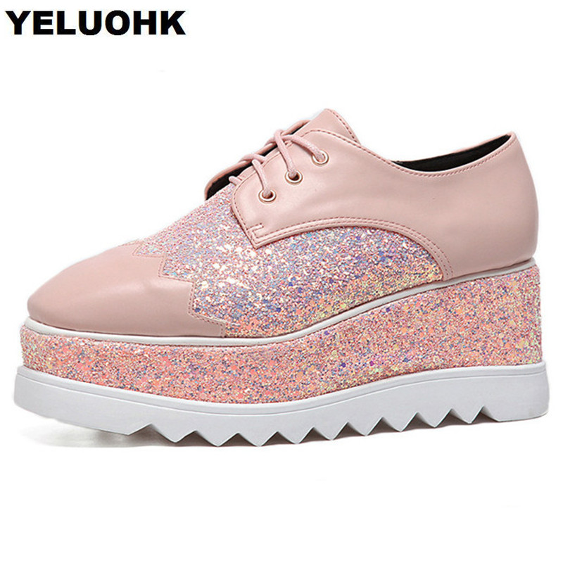 2018 Brand New Glitter Shoes Women Flats Casual Platform Shoes Square Toe Ladies Shoes Comfortable Lace Up Spring<br>
