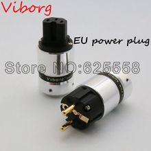 One pair New Viborg High End 24K Gold Plated IEC Connector  EUR Schuko EU Power Plug  for Hifi power  Plug extension adapter