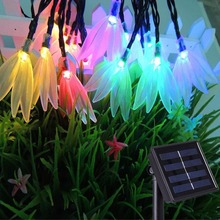April Flower Solar Lamps Power LED String Garlands Lights Solar Garden Christmas Lights Holiday Outdoor Fairy Lights Waterproof