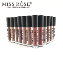 [MISS ROSE] New Fashion Color Beauty Red Lips Baton Matte Lip Stick Waterproof Makeup Pigment Brown Nude Matte Lipstick Pencils(China)