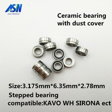 High Quality KAVO compatible handpiece bearing dental bearings ceramic balls with dust cover 10pcs stepped bearing(China)