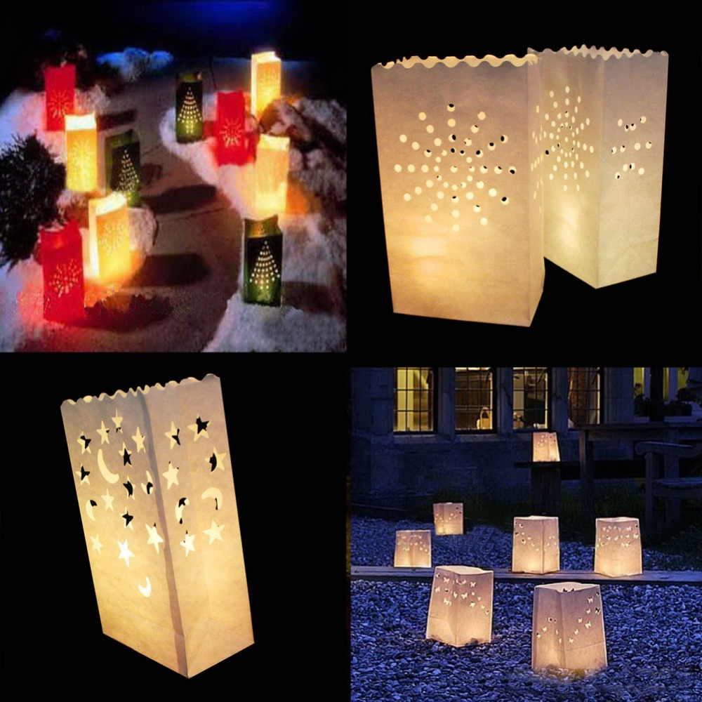 50 Pcs 25cm White Paper Lantern Candle Bag LED light Lampion Heart Romantic Birthday Party Wedding Event BBQ Decoration