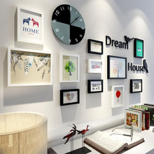 14 Pcs Nordic Clock Fashion Home Decoration Natural Wood Photo Frame Combination Living Room Picture Frame Wall's Decoration