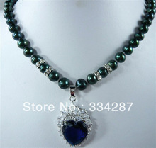 Black  Genuine Freshwater 7-8MM  Pearl   heart -shaped  Dark Blue  zircon pendant necklace 18inches