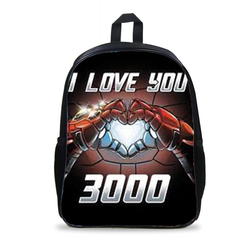 I Love You 3000 Times Iron Man Backpack USB Headphone Jack Boy Girl School Book Bag Women Teenagers Canvas Men Laptop Backpack